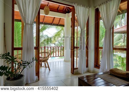 Tangalle, Sri Lanka - Nov 2, 2017: Hotel Or Residential House In Tropical Garden, Room With Terrace,