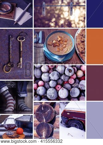 Creative Colorful Winter Mood Mood Board With Frozen Berries, Warm Socks And Hot Drink With Winter S
