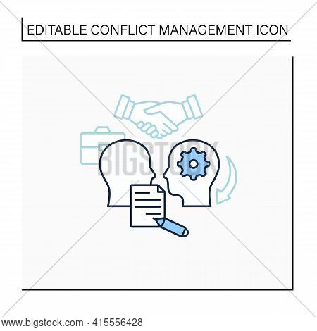 Formalizing Agreements Line Icon. Dispute Resolution.documentation. Successfully Handles, Resolves I