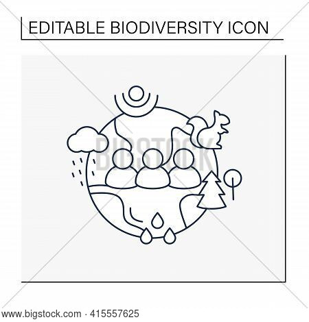 Humans And Ecosystem Line Icon.people Impact Ecosystem. Protection Flora, Fauna. Saving Animals, Pla