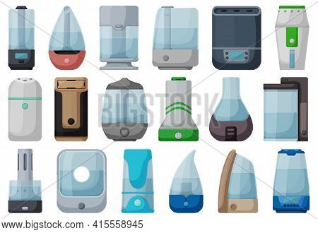 Humidifier Isolated Cartoon Set Icon. Vector Illustration Diffuser On White Background. Vector Carto
