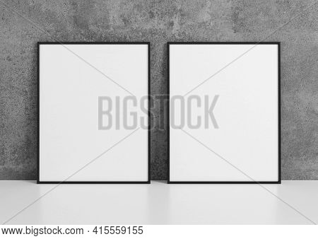 Double 8x10 Vertical Black Frame Mockup On White Floor And Concrete Wall. 3d Rendering