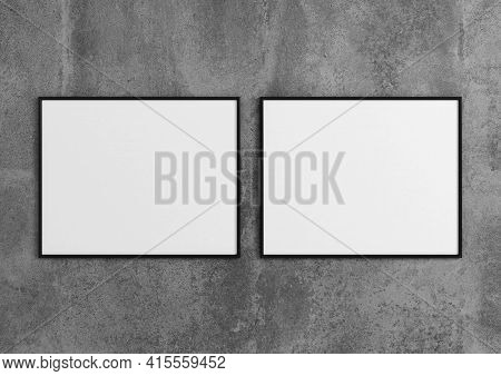 Double 8x10 Horizontal Black Frame Mockup On Concrete Wall. 3d Rendering