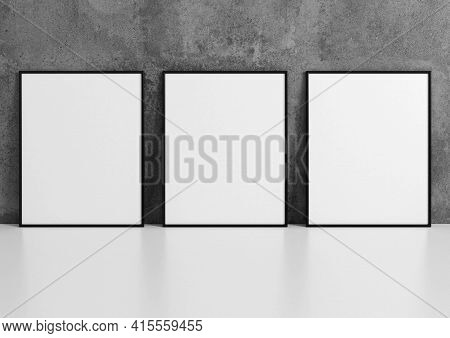 Triple 8x10 Vertical Black Frame Mockup On White Floor And Concrete Wall. 3d Rendering
