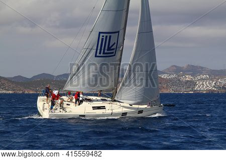 Bodrum,turkey. 08 October 2017: Sailing In The Wind Through The Waves At The Sea. Close Up Of Sailin