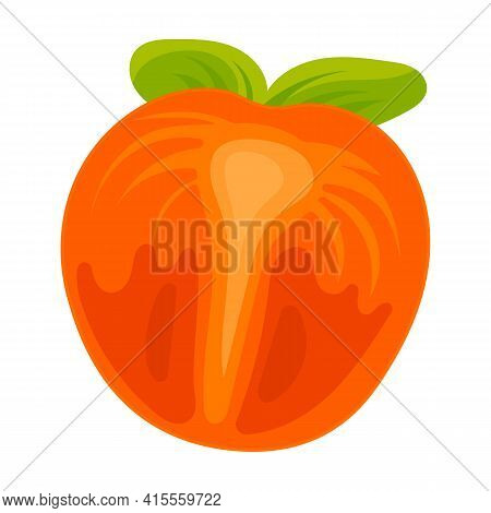 Piece Of Persimmon Vector Icon.cartoon Vector Icon Isolated On White Background Piece Of Persimmon.