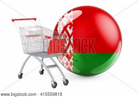 Shopping Cart With Belarusian Flag. Shopping In Belarus Concept. 3d Rendering Isolated On White Back