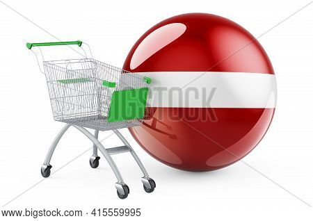 Shopping Cart With Latvian Flag. Shopping In Latvia Concept. 3d Rendering Isolated On White Backgrou