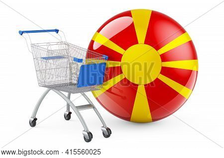 Shopping Cart With Macedonian Flag. Shopping In Macedonia Concept. 3d Rendering Isolated On White Ba