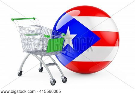 Shopping Cart With Puerto Rican Flag. Shopping In Puerto Rico Concept. 3d Rendering Isolated On Whit
