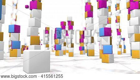 Field Full Of  Towers Of Red, Yellow And Blue Colored Messy Cubes With Small Cubes Flying Around On