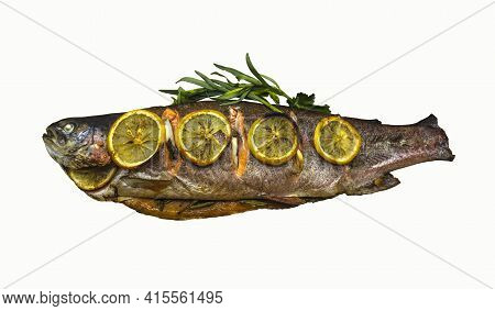 Appetizing, Baked Trout Stuffed With Herbs And Spices Covered With Lemon Slices On A White Backgroun