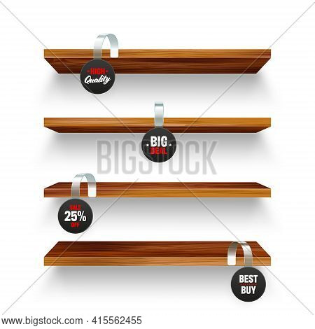Wooden Store Shelves And Supermarket Promotional Wobblers Isolated On White Background. Product Shel