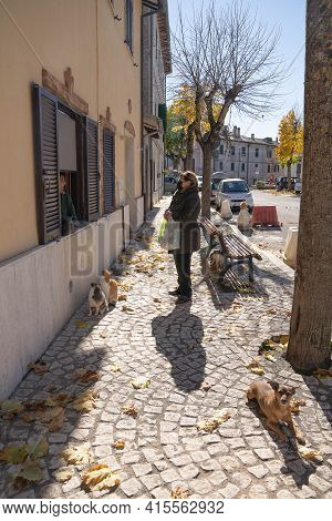 Orvinio, Italy - October 31, 2020, Masked And Unmasked People In Italian Borgo Orvinio During Second