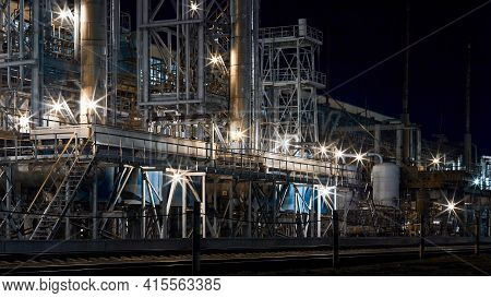 Night Industrial Petrochemical Landscape. Methanol Synthesis Process Mixed Reforming Reactors Column