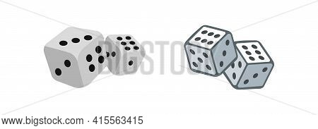 Dice Cubes Vector Illustration Set. Dice Simple Flat Icon