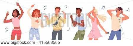 Dancing People Set, Young Group Of Dancers Listen To Music With Headphones And Dance