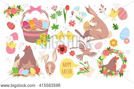 Cartoon Funny Spring Collection With Bunny Animal, Hen In Nest, Basket With Eggs And Chickens, Garde