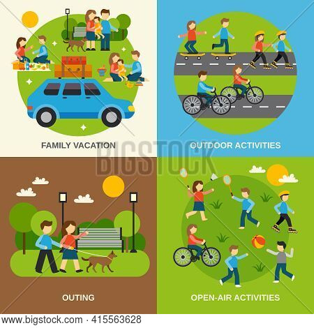Outing Design Concept Set With Family Vacation Isolated Vector Illustration