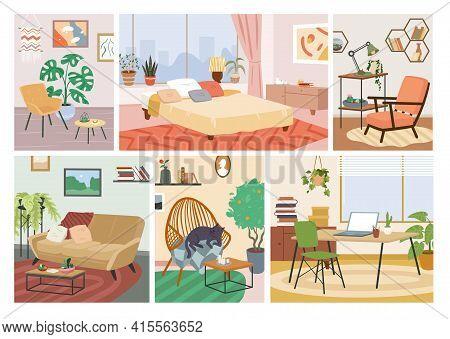 Scandinavian Hygge House Interior Set, Comfortable Home Apartment, Bedroom, Living Room