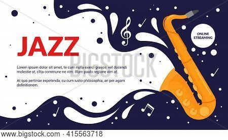 Cartoon Musical Fest Announcement, Party Show Promotion Advertisement With Vintage Trumpet Instrumen