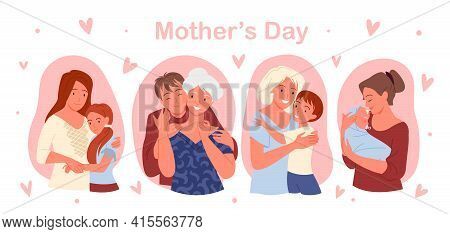 Happy Mothers Day Concept With Cute Family People Love, Care And Hug Vector Illustration Set. Cartoo