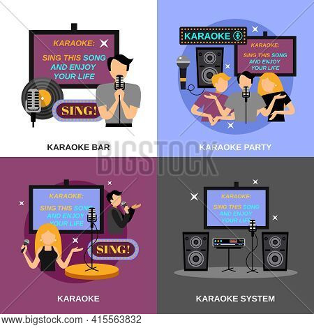 Karaoke Design Concept Set With Bar And Audio System Flat Icons Isolated Vector Illustration
