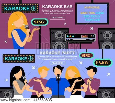 Karaoke Horizontal Banner Set With People Singing Songs Isolated Vector Illustration