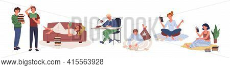 Cartoon Young Boy Holding Books Stack From Home Library Or Bookstore, Cute Girl Character Lying On C
