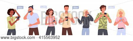 People With Smartphone Set, Young Man Woman Holding Phone For Communication, Talking