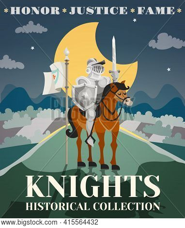 Knight Poster With Warrior In Armor On Horse With Night Landscape On Background Cartoon Vector Illus