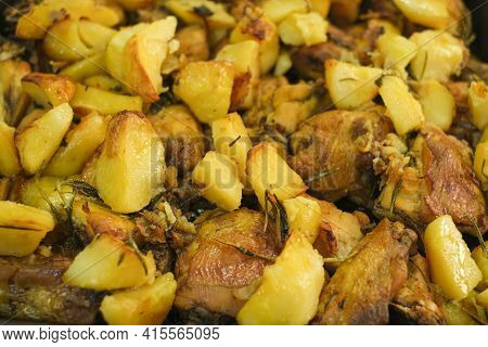 Tasty Roasted Chicken And Potatoes Close Up, Fat Food Kitchen