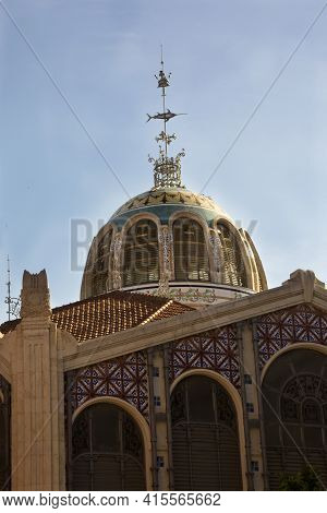 Valencia, Spain, 24 April 2017. Decorated Dome Of The Modernist Mercat Central Market.