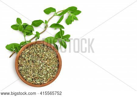Oregano Or Marjoram Leaves Fresh And Dry Isolated On White Background With Clipping Path. Top View W