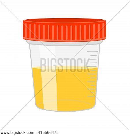 Urinalysis. Urine Sample In Plastic Container. Laboratory Examination And Diagnostics Concept. Vecto