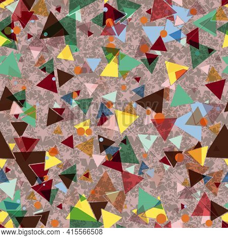 Abstract Seamless Pattern With Colorful Chaotic Small Triangles, Stars. Infinity Triangular Messy Ge