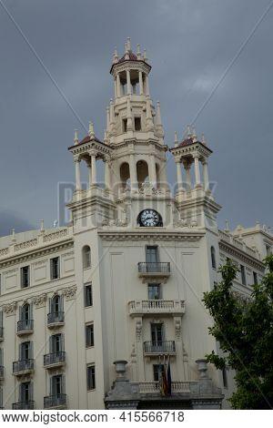 Valencia, Spain, 24 April 2017. Historic Architecture In The Center Of Valencia,
