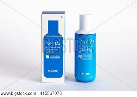 Russia, Rostov-on-don, 05.07.2018 Korean Cosmetics, Tony Moly Tony Lab Ac Control Toner, Isolated On