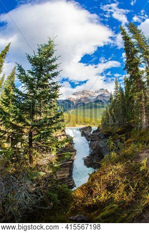 Picturesque narrow gorge in the Canadian Rockies. The famous rugged Athabasca Falls. Mountains, rivers and waterfalls make up magnificent landscape. Jasper Park