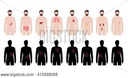 Pain In Internal Organs In A Man Body. Problem With Liver, Pancreas, Lungs And Other Organs In Male