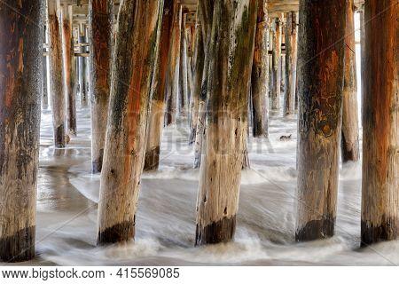 Below Santa Cruz Wharf In High Tide. Santa Cruz, California, Usa.