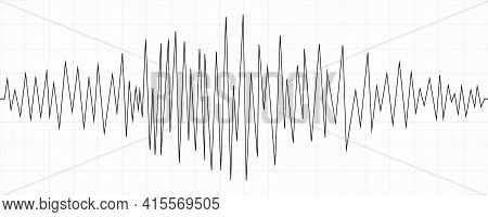 Seismogram. Earthquake Chart On Paper Tape. Wave Of Seismic Activity Intensity. Vector Illustration.