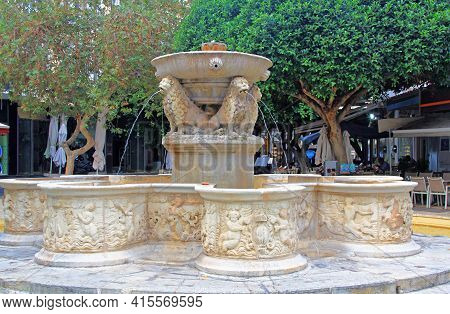 Ornate Morosini Fountain, Or Lions Fountain In Kallergon Square Or Lions Square In Heraklion, Crete,