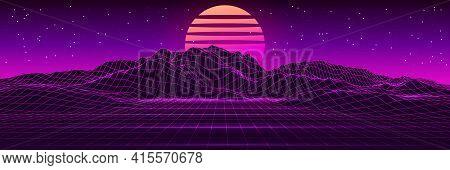 Retro Futuristic Background Landscape 1980S Style. 80S Retro Sci-fi Background. Vector Futuristic Il