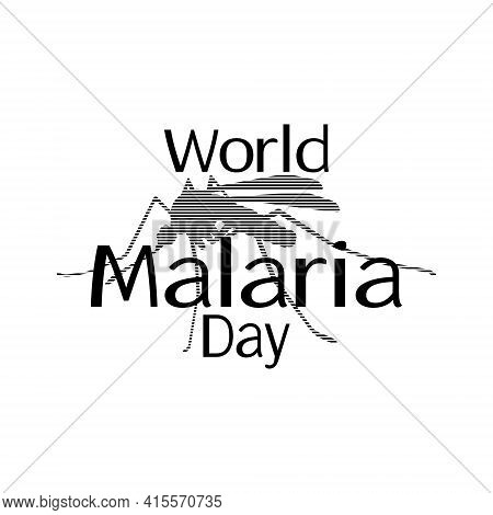 World Malaria Day, Mosquito Silhouette For Banner Or Information Poster Vector Illustration