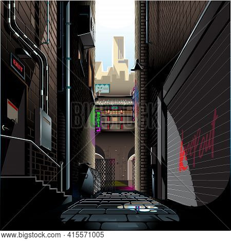 Alley In The Morning Vector Illustration Background