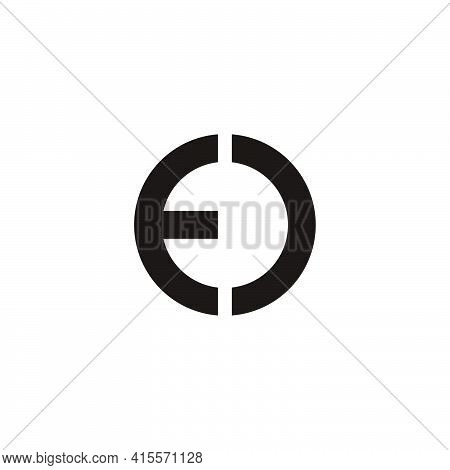 Abstract Letter Ed Flat Geometric Round Logo Vector