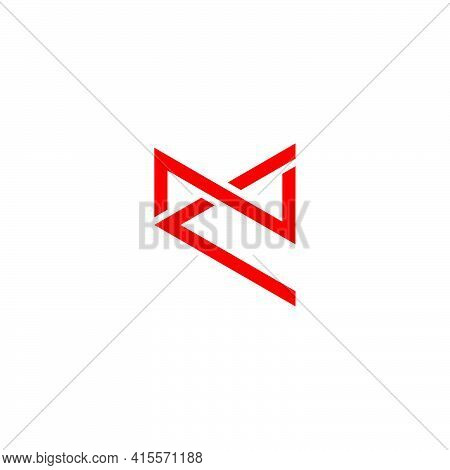 Letter Nc Simple Overlapping Flat Line Geometric Logo Vector