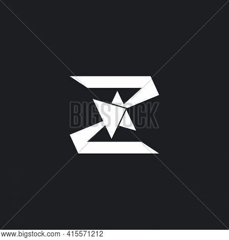 Letter Z Opposite Arrow Up Geometric Simple Logo Vector