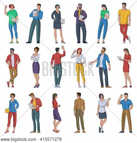 Flat Design Vector Set Of Multiethnic Male And Female Character. Diverse Multiethnic Various People
